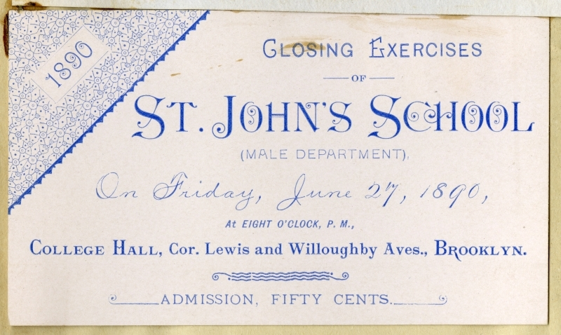 Program and Admission Ticket for the Closing Exercises of St. John's School, Male Department, 1890
