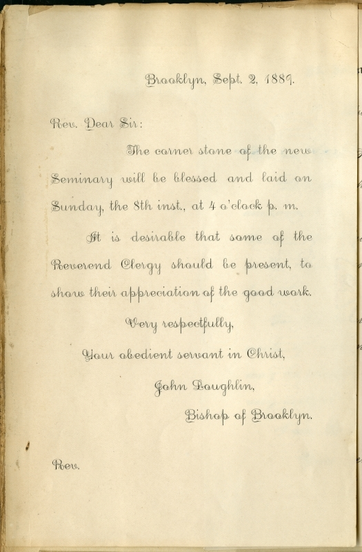 Invitation to the laying of the cornerstone of the St. John's Seminary, 1899