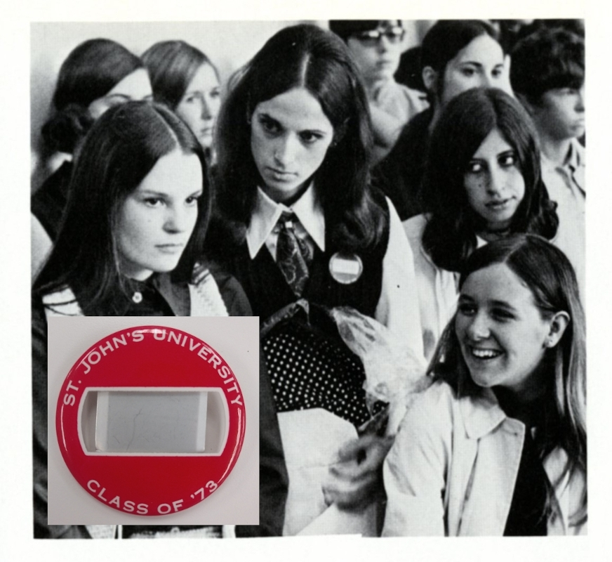 "These students are wearing red pins that read, ""St. John's University Class of '73"" during their freshman orientation in Fall 1969."