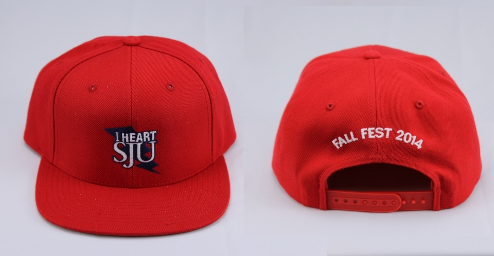 "This red ""I Heart SJU"" baseball cap was a giveaway at Fall Fest 2014."