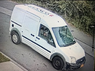 White Van from Public Safety Alert September 21 - has writing on top of vehicle